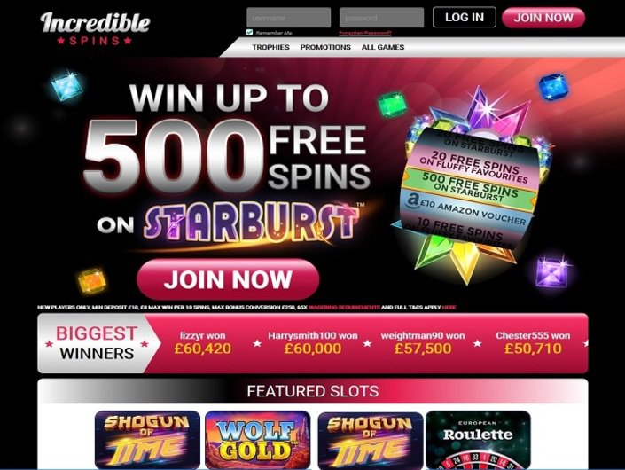 Incredible Spins casino homepage