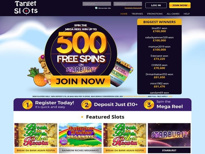 Target Slots Home page