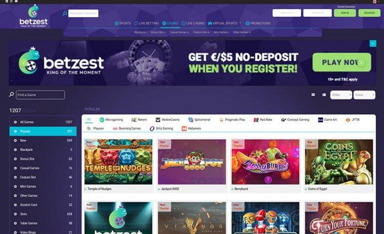 Betzest Casino Homepage