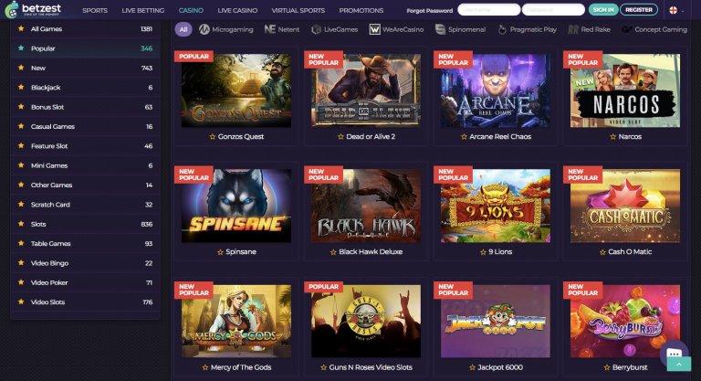 Betzest Casino games screenshot