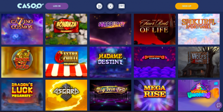 Casoo Casino Games Selection