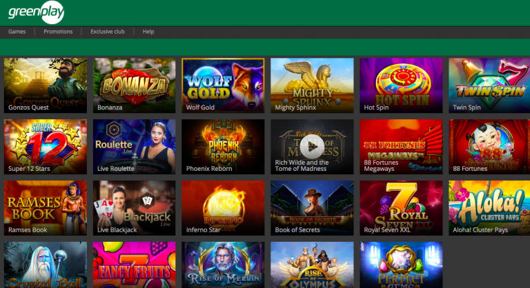 GreenPlay Casino Games List