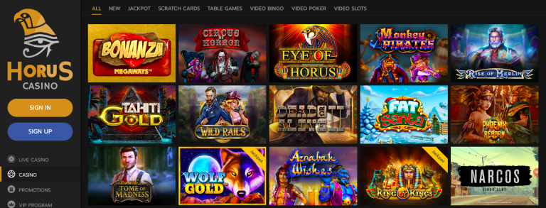 Horus Casino Games Screenshot