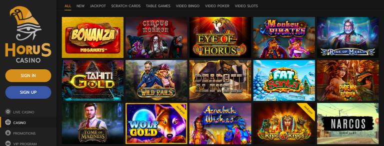 Horus Casino Games Screenshot