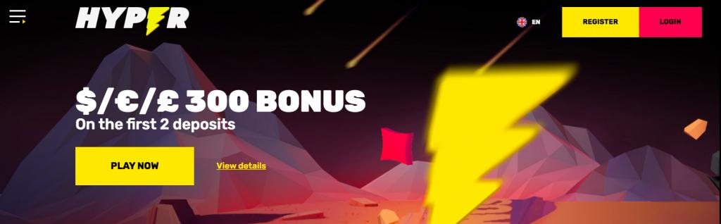 Hyper Casino Bonus page