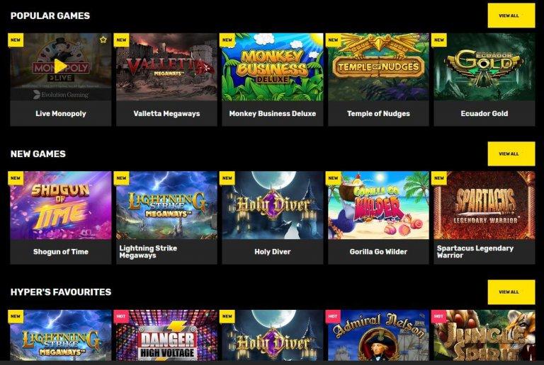 Hyper Casino Games Selection Screenshot