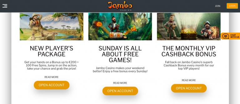 Jambo Casino Welcome Package