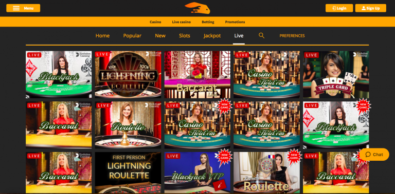 Snabbis Live Casino Selection