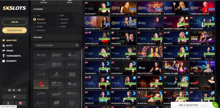 1XSlots Live Casino Games