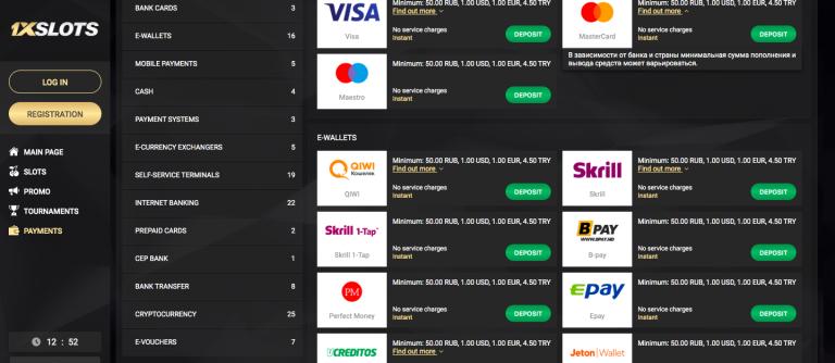 1xSlots Deposit Methods list info
