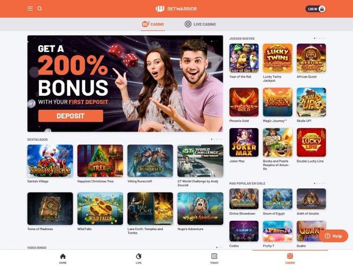 BetWarrior Casino Homepage