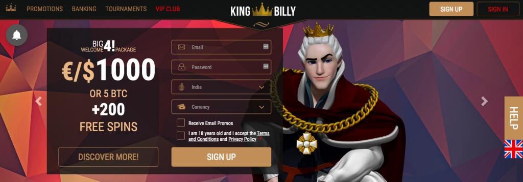 KingBilly Casino Welcome Bonus