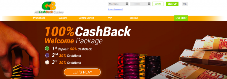 AllCashBack Casino Welcome Package info