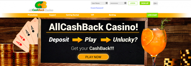 AllCashBack Casino Cashback Explanation