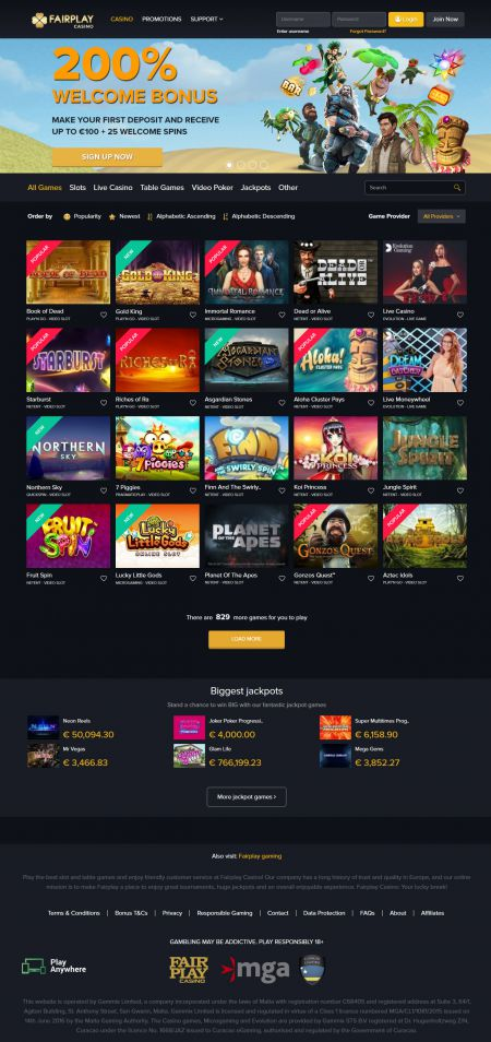 FairPlay Casino Homepage