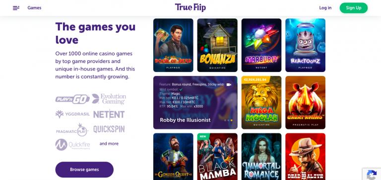 TrueFlip Casino Games Info