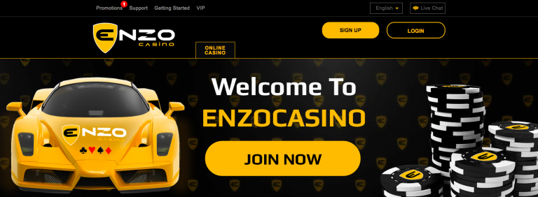 Enzo Casino Welcome Page